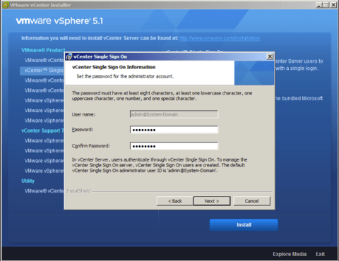 Set the password for the Single Sign On Administrator Account