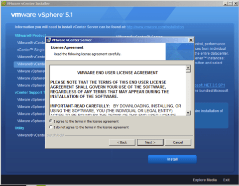 On vCenter 5.1 installation wizard accept the license agreement