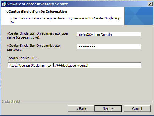 Register Inventory Service with vCenter Single Sign On