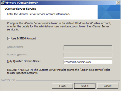 Specify the vCenter Service account