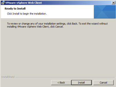 Start the vSphere Web Client Installation