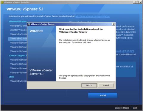 on VMware vCenter Service installation wizard hit next to start