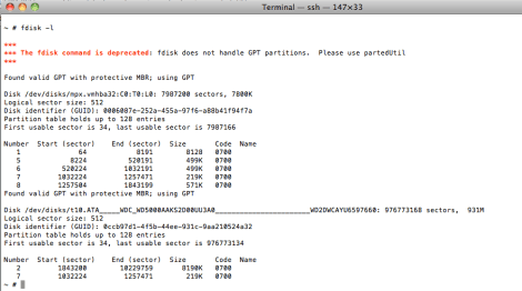 fdisk cannot handle GPT partitions