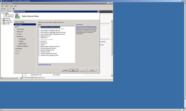 Install Active Directory Certificates Role