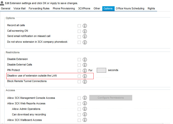 3CX Systems Phone Disallow use of extension outside the LAN