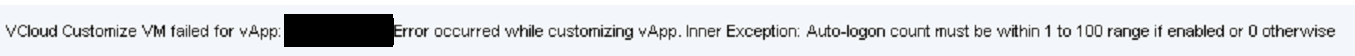 vAPP deployment fails in vRA autologin error under monitoring log