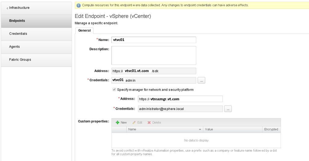 Modify vCenter Endpoint with NSX info