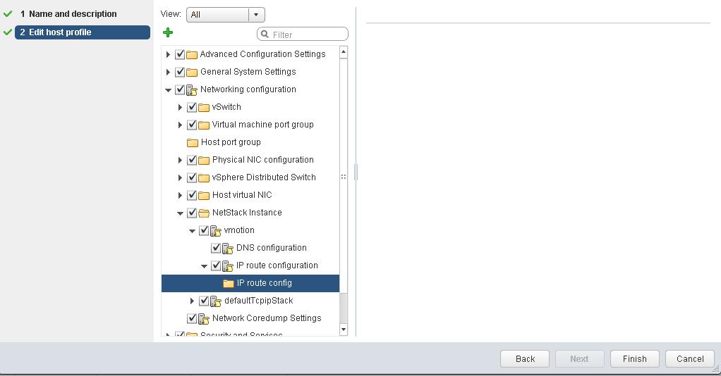 vSphere 6.5 host profile IP route config