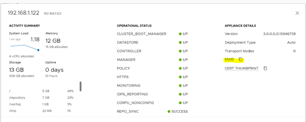 VMware NSX-T Manager Node ID