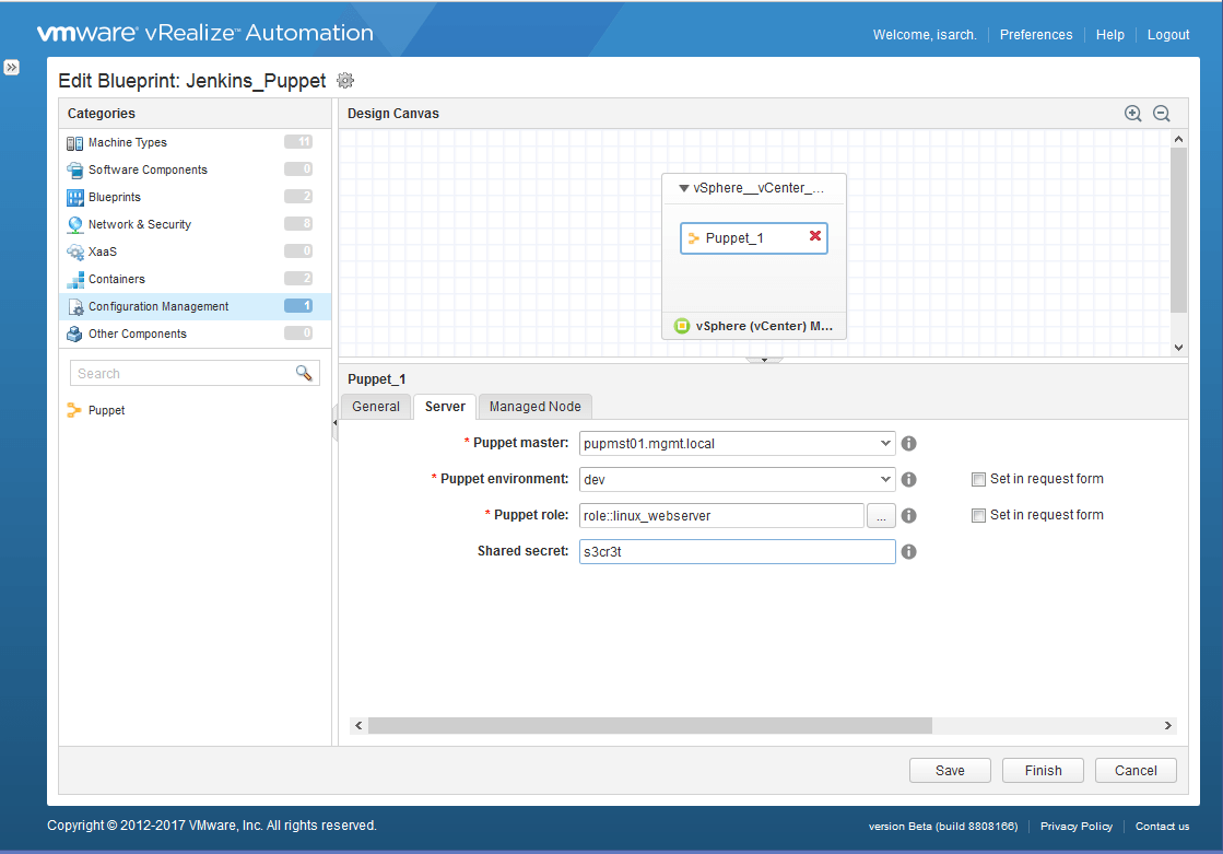 The scoop vrealize automation 73 virtualjad once the plugin is added the puppet master registered as an extensibility endpoint and becomes available in the converged blueprint canvas to drag and drop malvernweather