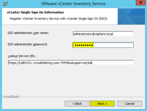 29 Inventory Service Enter SSO Information