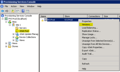 1 Citrix Provisioning Services Console - Versions