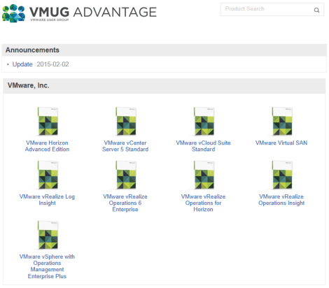 VMUG Advantage - Product Portal
