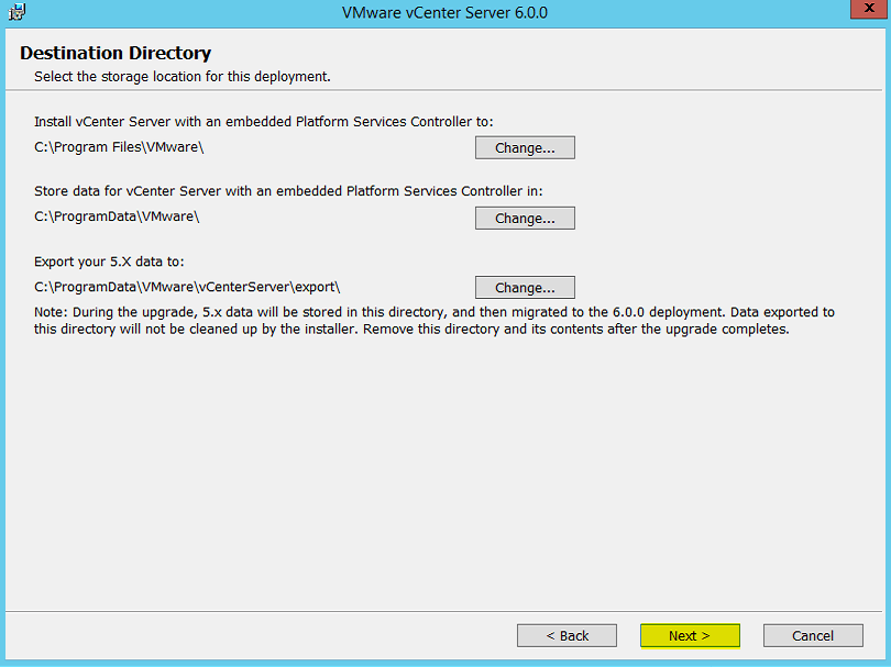 10 vCenter Installation Directory