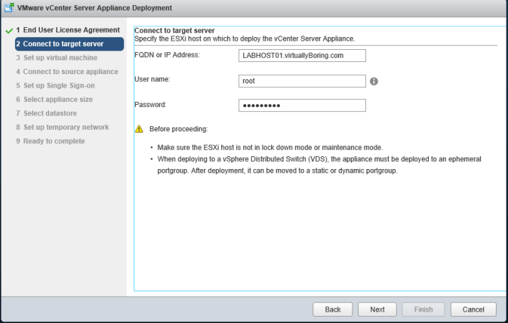 4 vCSA Upgrade - ESXi host target