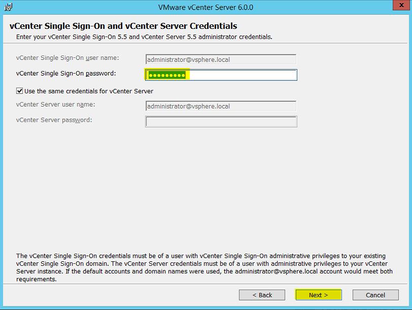 7 SSO & vCenter Server Creds