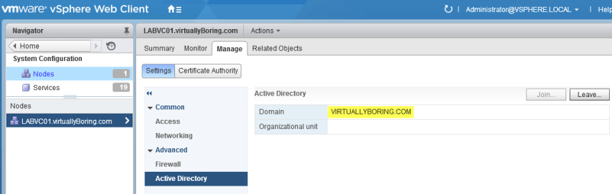 7 VCSA 6 - Successfully joined to domain