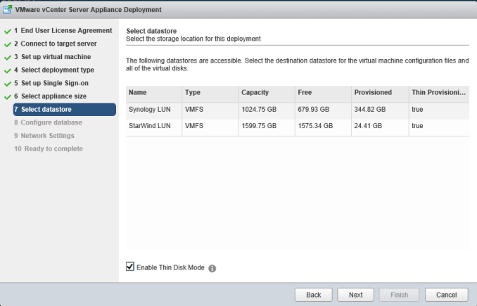 8 vCSA Install - Select Datastore