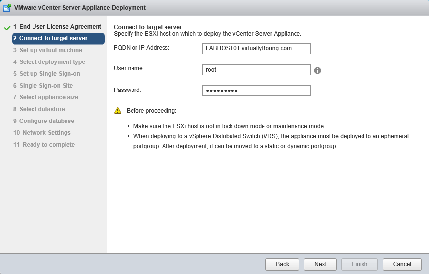 VCSA 6 - Connect to ESXi host