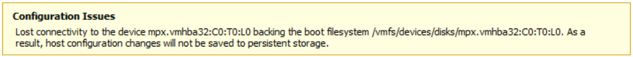 Lost connectivity to the device backing the boot filesystem
