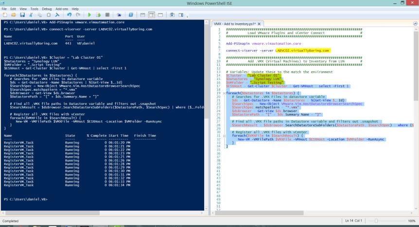 2 VMX Powershell Script - Code in ICE ran