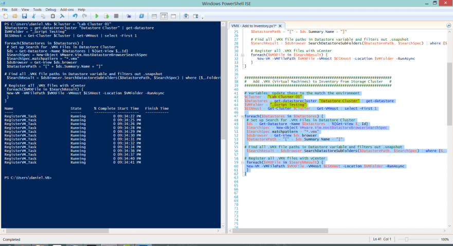 4 VMX Powershell Script - Code in ICE ran for Storage Cluster
