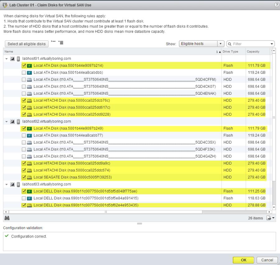 13 VSAN - Claim Disks for multiple hosts