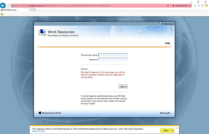 16 Remote Desktop Service - Accessing RDS via web browser