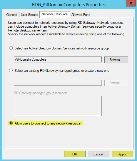 RD Gateway 14 - Network Resource Permissions