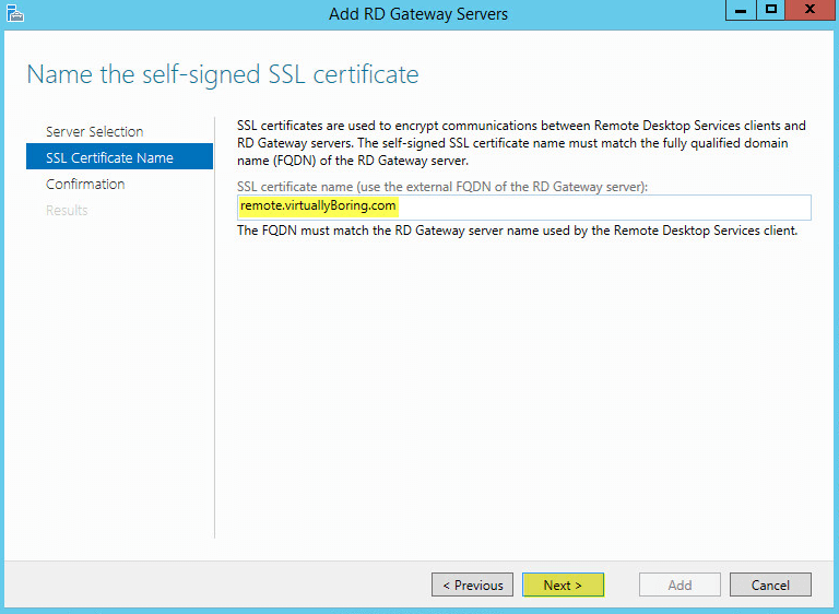 RD Gateway 3 - SSL Certificate Name