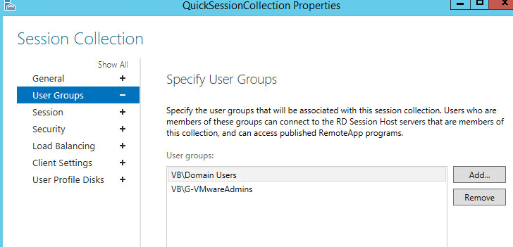 RDS 7-1 - Added User Group