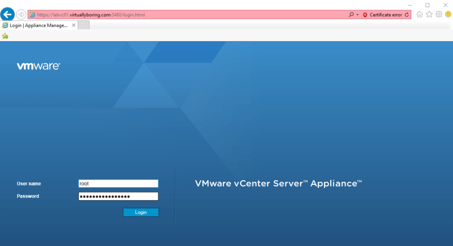VCSA MUI 10 - Login to MUI