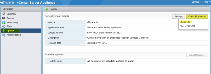 VCSA MUI 11 - Update via the web
