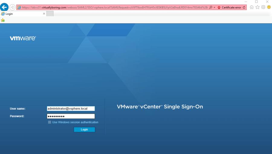 VCSA PSC 12 - Login