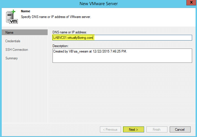 Veeam Backup 12- vCenter Name