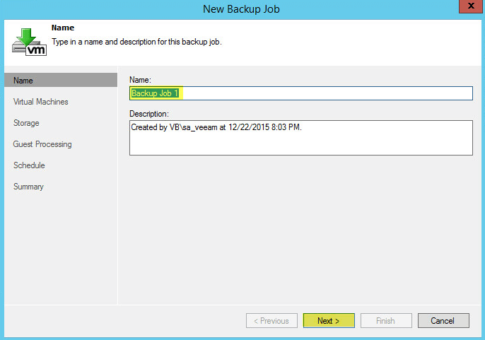 Veeam Backup 17 - Backup Job Name
