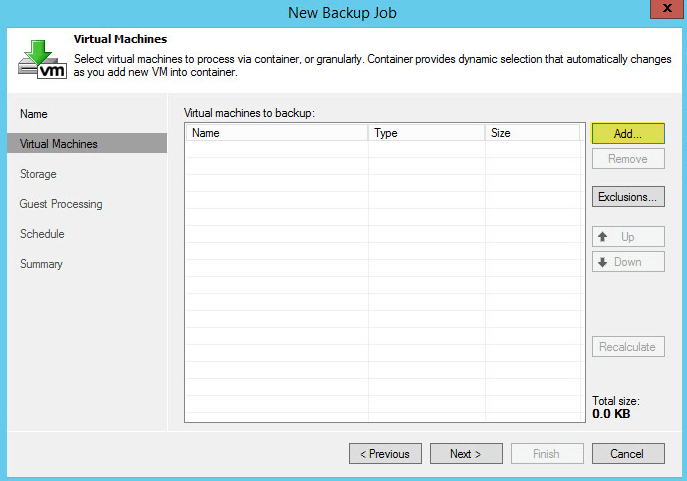 Veeam Backup 18 - Add Virtual Machines