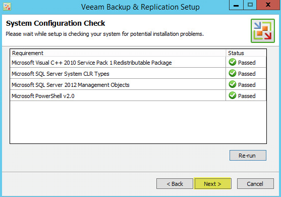 Veeam Backup 7.2 - Passed System Configuration Check