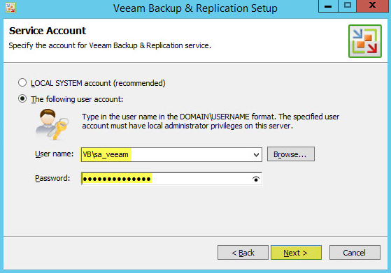 Veeam Backup 8.1 - Service Account
