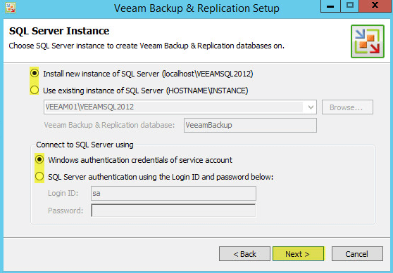 Veeam Backup 8.2 - SQL Server Instance