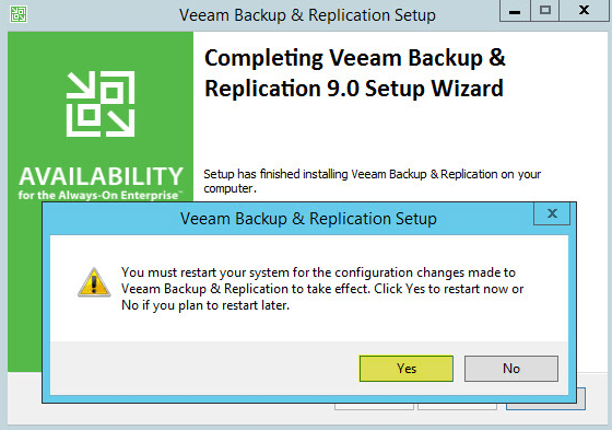 Veeam Backup 11 - Reboot