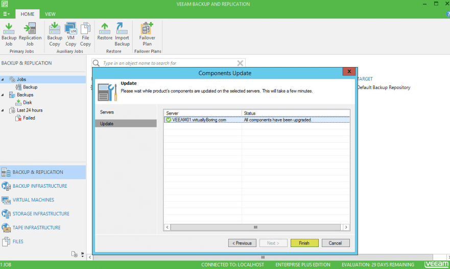 Veeam Backup 13 - Components Upgrade Complete