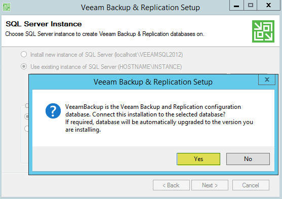 Veeam Backup 8-1 - Upgrade Database Confirmation