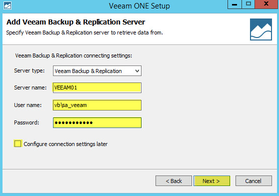 Veeam ONE 12 - Add Veeam Backup & Replication Server