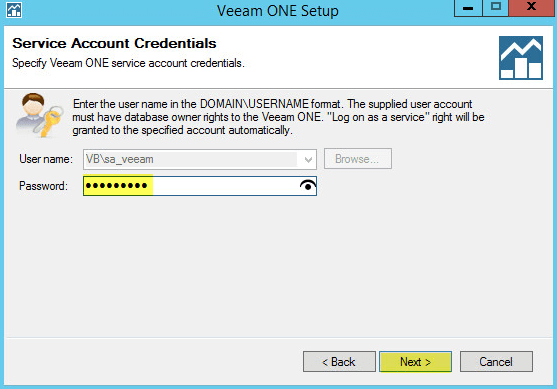 Veeam ONE 7 - Service Account Credentials
