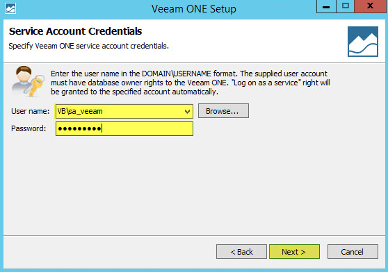 Veeam ONE 8 - Service Account Credentials