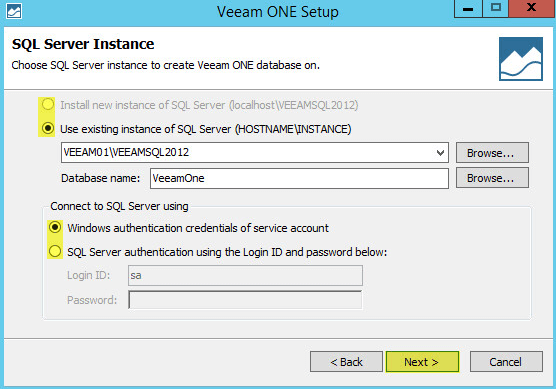 Veeam ONE 9 - SQL Server Instance