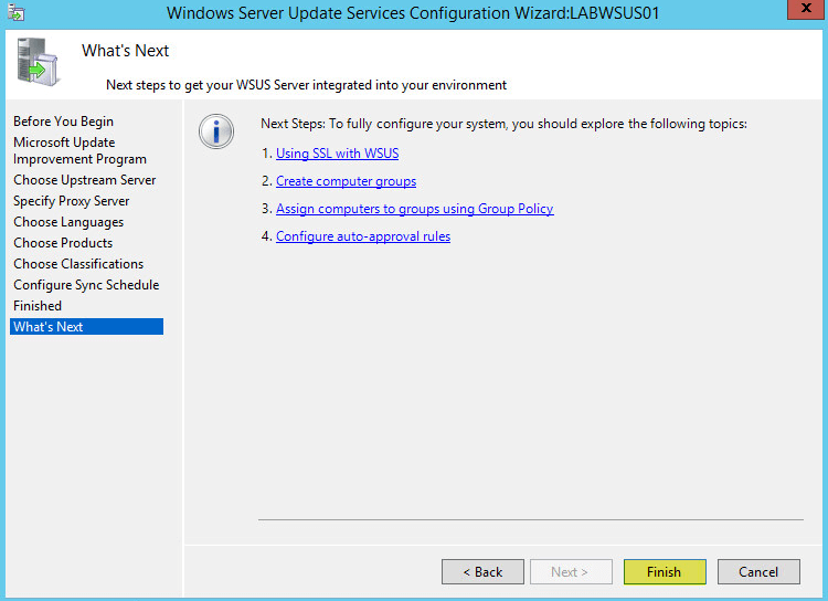 WSUS Config 11 - Whats Next