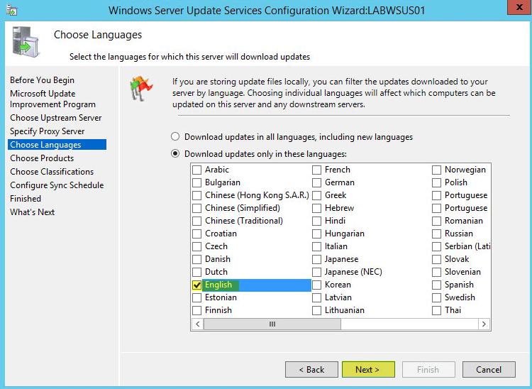 WSUS Config 6 - Choose Languages