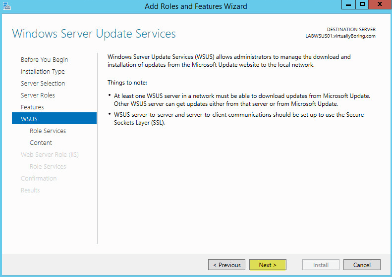 WSUS Install 7 - WSUS